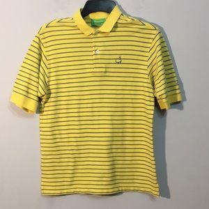 Men's Masters Polo Sz M(12-14)Shirt Yellow Striped